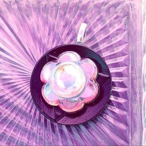 Up-cycled Iridescent Acrylic Flower Pendant